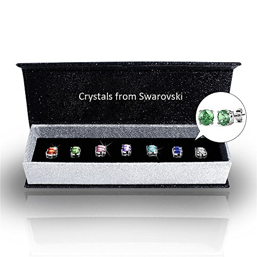 r-timer-womens-swarovski-elements-crystal-stud-earrings-set-of-7-pairs-18k-white-gold-plated-earring