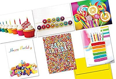 Colorful Birthday - 36 Note Cards - 6 Designs - Yellow Envelopes Included