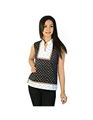Jaipur RagaEthnic Design Brocade Indian Black Cotton Top Black Cotton Kurti