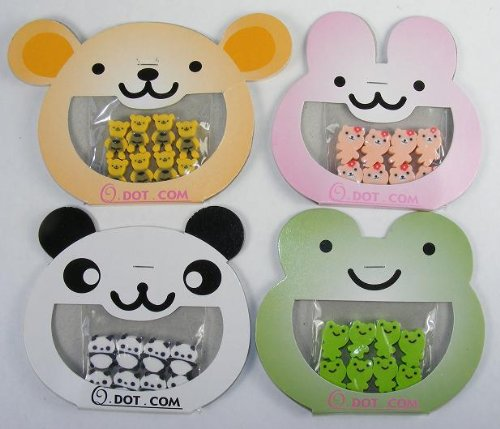 Bear, Panda, Rabbit & Frog Erasers, 8 Tiny Erasers in Each Card, 32 Tiny Erasers, #38804 - 1