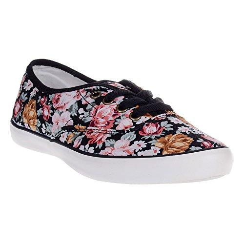 Zapatillas-de-lona-de-flores-de-Bleading-Heart-NegroRosa