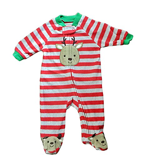 Carter's Baby Boy Girl Striped Reindeer Footed Sleeper 3 Month - 1