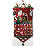 "Bucilla Must Be Santa Advent Calendar Felt Applique Kit-13""x25"""