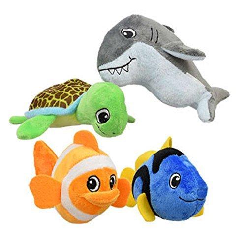 plush-fish-sea-creatures-toys-soft-toys-bundle-4-items-1-each-green-sea-turtle-gray-great-shark-oran