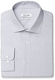 Calvin Klein Men\'s Regular Fit Thin Stripe, Cloud, 15.5 32/33