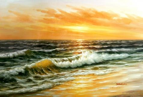 Perfect effect Canvas ,the High Definition Art Decorative Canvas Prints of oil painting 'Seascape: Sea Waves', 30x44 inch / 76x113 cm is best for Living Room decor and Home artwork and Gifts