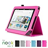 "GMYLE(TM) Hot Pink PU Leather Slim Folio Magnetic Flip Stand Case Cover with Wake Up Sleep Function for Barnes & Noble Nook HD+ Plus 9 "" inches Tablet"