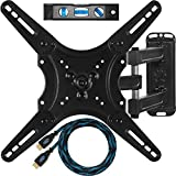 "Cheetah Mounts ALAMLB Articulating (20"" Ext) TV and Monitor Wall Mount for 23-49"" (some up to 55"") LCD LED Plasma Flat Screens up to VESA 400x400. Full Ballhead Tilt, Swivel, and Rotation. Includes a 10' Twisted Veins HDMI Cable and Bubble Level"