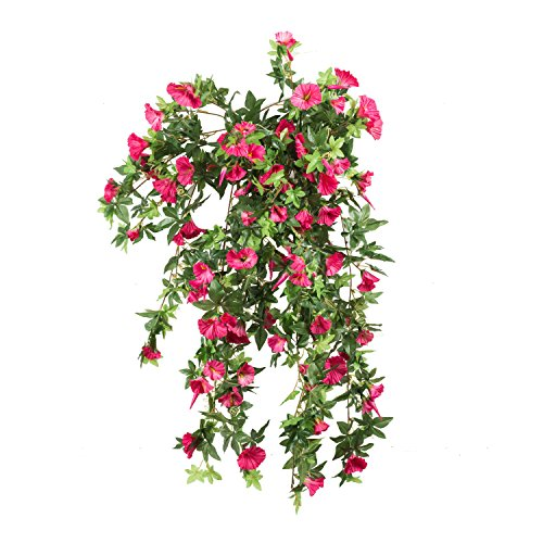 Morning Glory Artificial Silk Flowers Hanging Plant Vine for DIY Garland Home Party Wedding Garden Decor Pack of 2 (Rose)