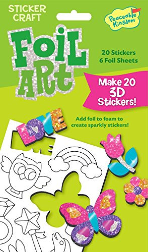 Peaceable Kingdom Foil Art Sweet and Sparkly 3D Sticker Craft Pack
