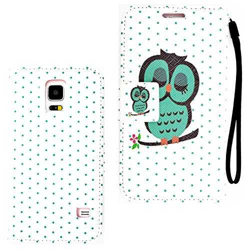 myLife White and Turquoise Sleeping Owl - Classic Design - Koskin Faux Leather Card - Cash and ID Holder Magnetic Detachable Closing Slim Wallet for NEW Galaxy S5 5G Smartphone by Samsung External Rugged Synthetic Leather With Magnetic Clip Internal Secure Snap In Hard Rubberized Bumper Holder