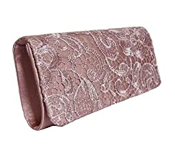 Edelweiss Vintage Lace Front Party Clutch 10-inch with Strap (Latte Coffee)