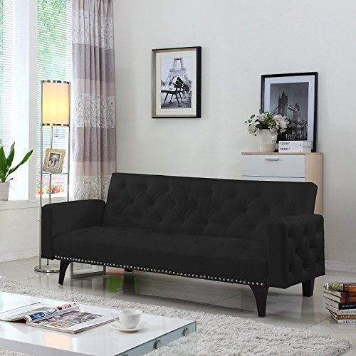 modern-tufted-bonded-leather-sleeper-futon-sofa-with-nailhead-trim-in-white-black-black