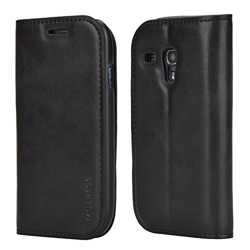 Samsung S3 Mini Case,Mulbess PU Leather Wallet Case With Kick Stand for Samsung Galaxy S3 Mini,Black (Lining For Samsung Galaxy S3 Mini compare prices)
