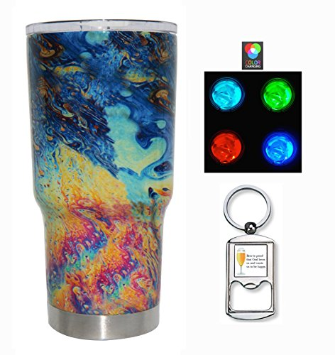 RTIC Bundle - Custom Hydro Dipped 20 Ounce (20oz) (20 oz) Tumbler with awesome Multicolor LED Tea Light for color changing effect (Oil Slick)