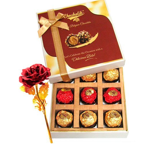 Tantalizing Chocolates Gift Box With 24k Red Gold Rose - Chocholik Belgium Chocolates