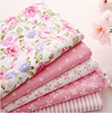 """5pcs/lot 15.7""""x19.7"""" Pink 100% Cotton Fabric For Sewing Fat Quarter Quilting Patchwork Tissue Tilda Doll Cloth Kids Bedding Textile"""