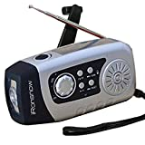 iRonsnow IS-089 Dynamo Emergency Solar Hand Crank Self Powered FM Radio, [2000mAh] Power Bank & LED Flashlight, Support TF card MP3-Silver