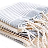 Bohemian Bamboo Hand Size Pestemal with Gray Stripes on Ecru . Turkish Hand Towel . Hair Pestemal .