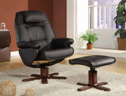 Beautiful Minimal Black leather recliner chair with swivel plus ottoman footrest