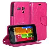 Moto G Case, GMYLE (R) Wallet Case Classic for Motorola Moto G XT1032 XT1033 XT1034-Rose Red Crazy Horse Pattern PU Leather Slim Magnetic Flip Stand Cover