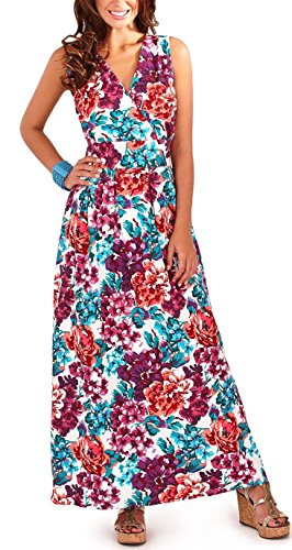 Pistachio Womens Floral Built Up Maxi Dress - Blue (D530) - Medium - 12-14