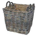 Azul Square Rattan Basket With Loop Handles & Removable Hess (Medium)