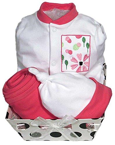 Raindrops Delightful Brights Flower Footie Gift Set, Strawberry/Black, 3-6 Months, 4 Piece