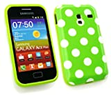 Emartbuy® Samsung S7500 Galaxy Ace Plus Polka Dots Gel Skin Cover/Case Green
