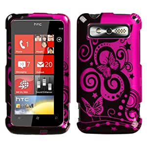 Design Hard Protector Skin (2D Silver) Cover Cell Phone Case for HTC Trophy Verizon Wireless - Playful Butterfly Hot Pink