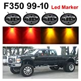 Pack of 4 TMH Smoked Lens 2 Amber + 2 Red LED Fender Bed Side Marker Lights Assembly For 1999-2010 Ford F350 F450 F550 Heavy Duty
