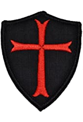 Knights Templar Cross 3x2.5 Shield Military Patch / Morale Patch - Black with Red