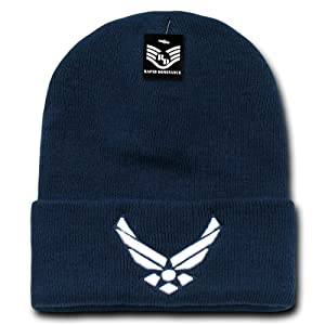 Rapiddominance Air Force Emblem Military Long Beanie, Navy