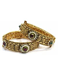 Shingar Jewellery Ksvk Jewels Antique Gold Plated Bangles Set For Women (5978-m-2.6)