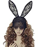 Wowlife Bunny Rabbit Ears Sexy Rabbit Ears Lace Mask Veil Headband Supply For Nightclubs & Masquerade & Halloween & Christmas (Style 01)