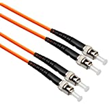 1m (3.28ft) ST-ST 50/125 OM2 Duplex Multimode PVC Fiber Optic Cable