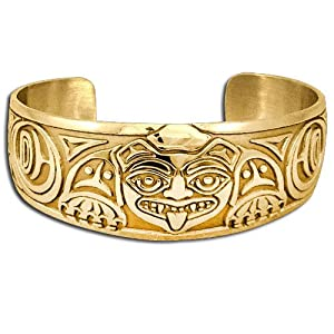 14K Yellow Gold Northwest Coast Native American Biorka Bear Bracelet. Made in USA.
