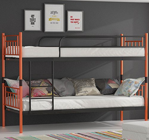 etagenbett hochbett stockbett metall lattenrost neu 90x200 cm orange schwarz. Black Bedroom Furniture Sets. Home Design Ideas