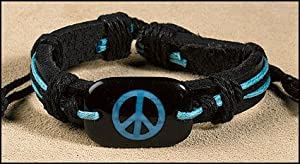 Peace Sign 5 Colors Leather Adjustable Bracelet One Size Fits Most (B) (Blue Peace Sign)