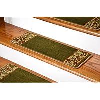 Dean Premium Carpet Stair Treads - Talas Floral Green (Set of 13)