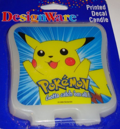 Pokemon Pikachu Printed Decal Candle Cake Topper by Designware - 1