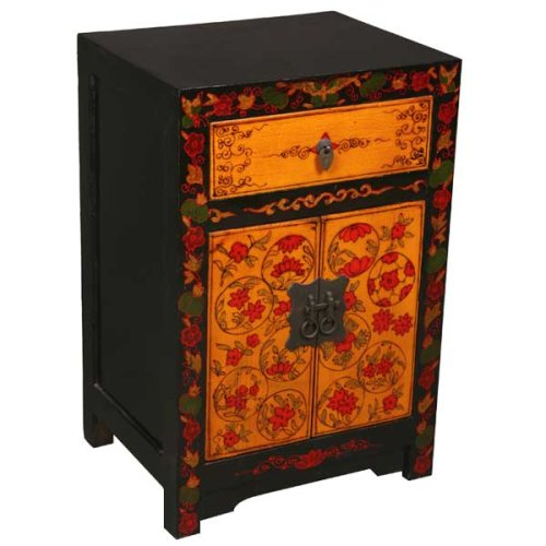 Cheap EXP Handmade 23″ Vintage Style Black, Red & Gold Storage Cabinet / End Table With Floral Motif (B0015GXA5K)
