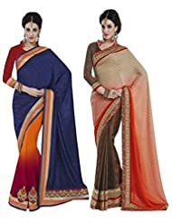 Indian Women Silk Jacquard,Tureky Jacquard,Georgette Saree(Cmb045_Multi-Coloured)