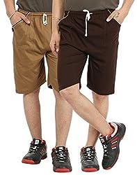 Gumber Pack of 2 Brown Solid Shorts (GE_VT_NKR_BRN_LBRN_2PC)