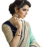 Beautiful Green Embroidery, Lace Work Georgette And Net Saree