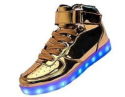 Women Men High Top USB Charging LED Shoes Flashing Sneakers gold
