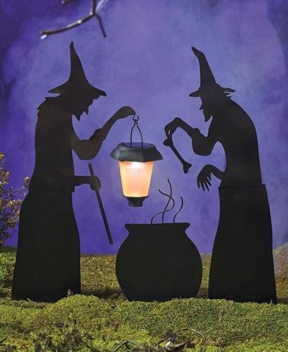 NEW Halloween Silhouettes with Solar Lantern Witches Caldron Ghost Tombstone RIP (Expedite Ship) (3 PC Witches & Caldron) (Motorized Couch compare prices)
