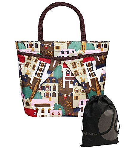 JAVOedge Building / City Scene Pattern Double Pocket Lunch Bag Tote with Zipper and Handle and Bonus Drawstring Bag - 1