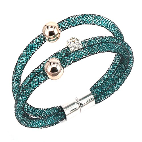Aprilsky Women's Bling Bling Cystal Rhinestones Stardust Mesh Magnetic Wrap Friendship Bangle Bracelet 8 Inch (Light Sapphire)