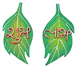 999Store handmade multicolour wooden leaf shubh labh diwali door hanging